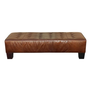 Vintage Brown Long Leather Bench