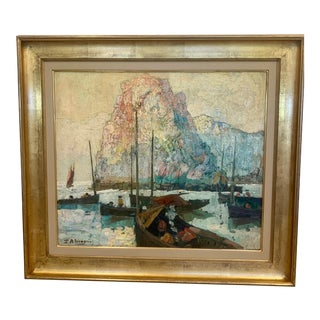 """""""Fishing Boats in Harbor"""" by Paul Auguste Masui For Sale"""