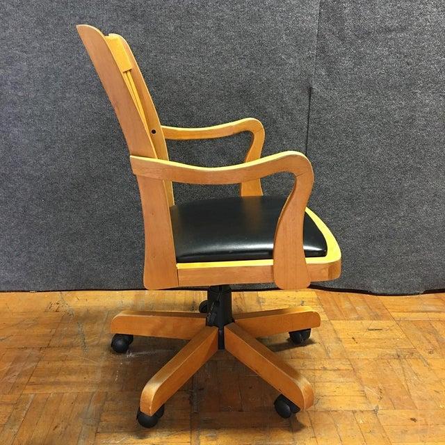 Adjustable Wood Banker's Desk Chair - Image 6 of 8