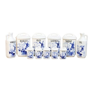Blue & White Czechoslovakian Kitchen Storage Containers - Set of 11