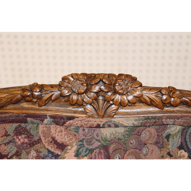 1920s Louis XV Style Carved Walnut Tapestry Sofa For Sale - Image 5 of 13