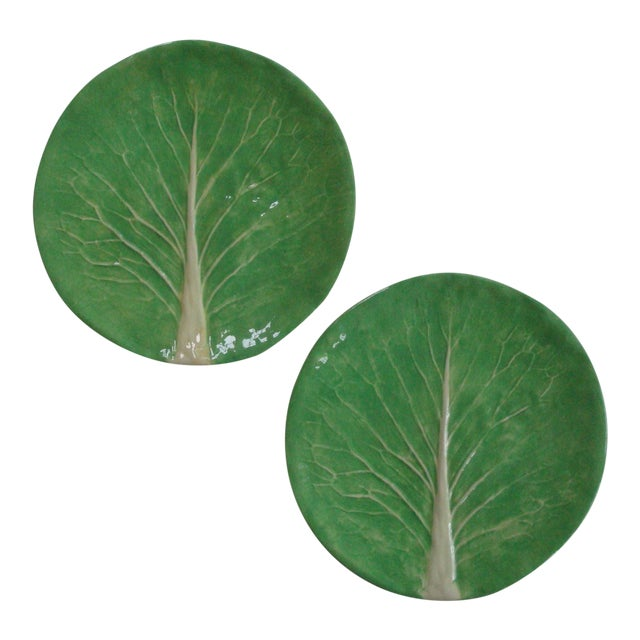 "Dodie Thayer Lettuce Ware Cabbage Leaf 10"" Dinner Plates, a Pair For Sale"