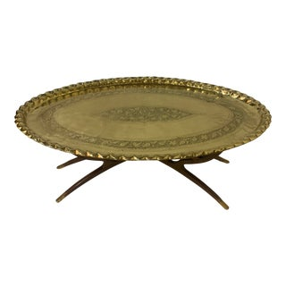 Mid Century Islamic Brass Tray With 6 Spider-Leg Base For Sale