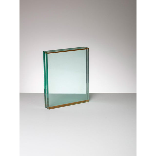 Fontana Arte table frame. Thick glass blocks and thin cork stripes.