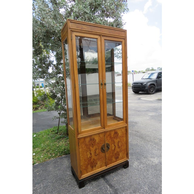 Brown American of Martinsille Hollywood Regency Pair of China Display Cabinets 2398 For Sale - Image 8 of 13