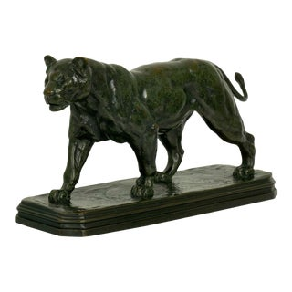 French Antique Bronze Sculpture of Marching Lion by Paul Edouard Delabrierre For Sale
