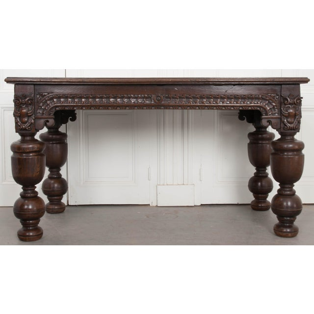 French 18th Century Elizabethan-Style Hand-Carved Oak Center Table For Sale - Image 13 of 13