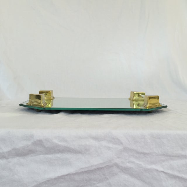 Vanity Tray With Lucite and Faux Brass Handles - Image 3 of 7