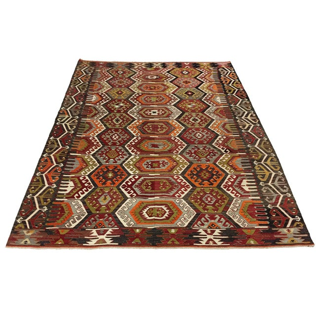 Semi-Antique Turkish Kilim Aydin Flatweave Rug - 7′1″ × 9′2″ For Sale - Image 5 of 5