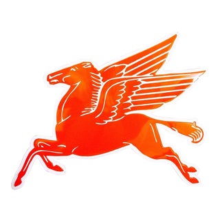 Late 20th Century Americana Embossed Red Metal Pegasus Sign