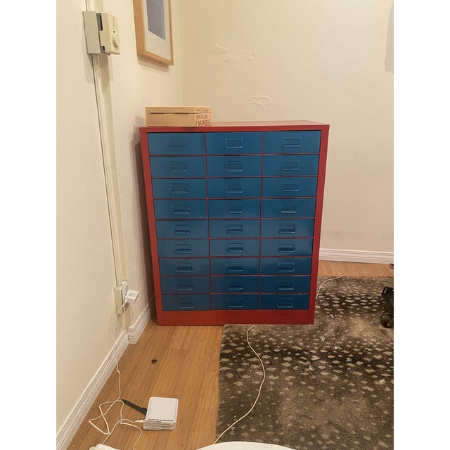 Vintage Metallic Turquoise and Red Steel Stationary Cabinet For Sale - Image 4 of 8