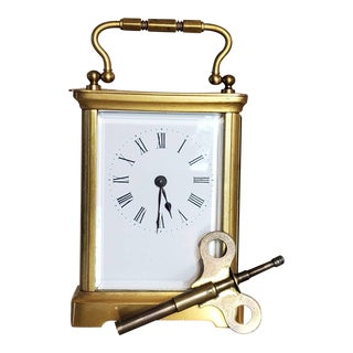Antique French Armand Couaillet Freres Gilt Brass Traveling Carriage Clock For Sale