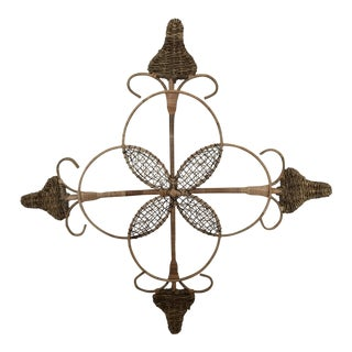 Vintage Rattan Compass Wall Hanging For Sale
