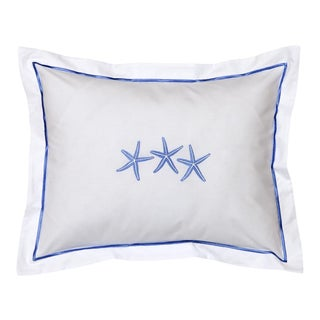 Blue Three Starfish Boudoir Pillow Cover, Embroidered For Sale