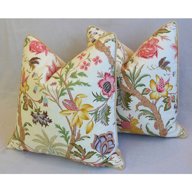 "Designer Cowtan Tout Arabella Floral Feather/Down Pillows 24"" Square - Pair For Sale - Image 10 of 13"