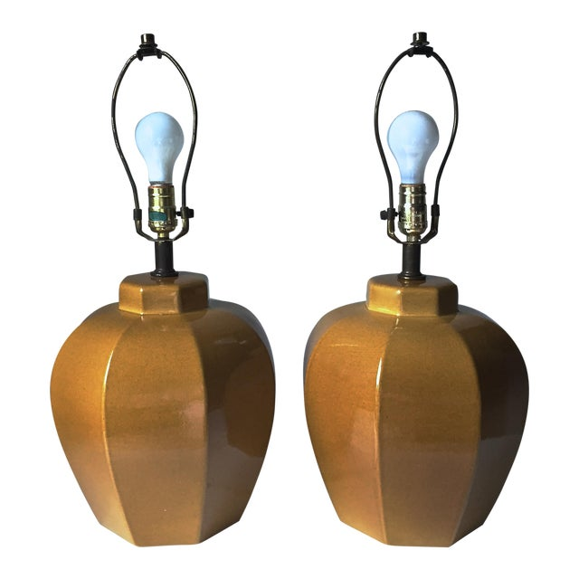2 Mid Century Chinoiserie Ceramic Lamps - Image 1 of 4