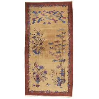 Antique Palace-Size Gold Ground Art Deco Chinese Rug - 9' x 17' For Sale