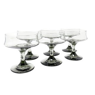Mid-Century Modern Smoke-Colored Cocktail Glasses - Set of 6 For Sale