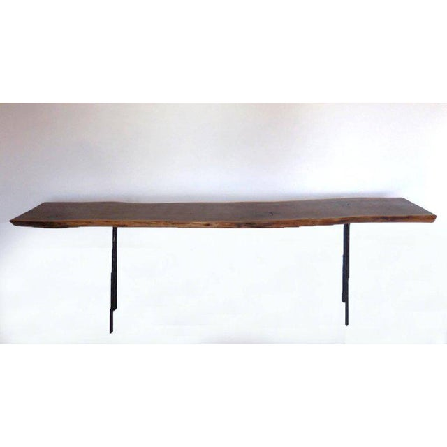 Dos Gallos Studio Black Walnut Console With Iron Legs For Sale - Image 9 of 9
