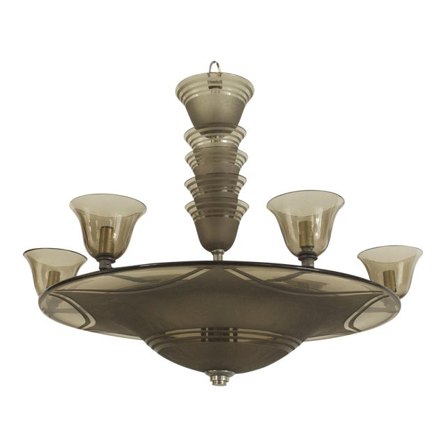 1930s French Art Deco Smoky Glass Dome Shaped Chandelier For Sale