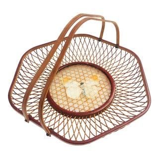 Vintage Wicker Butterfly Tray For Sale