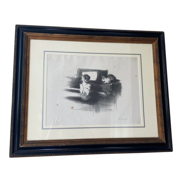 """Vintage Margery Austin Ryerson """"Child With Cat at the Piano"""" Lithograph For Sale"""