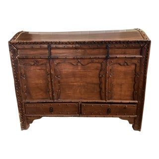1920s Rustic European Russian Wooden Trunk For Sale