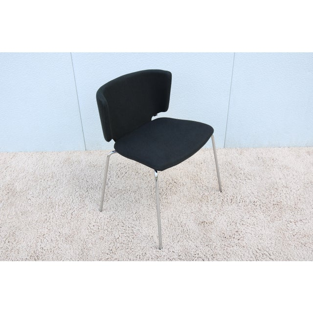 Modern Spain Mark Krusin for Coalesse Wrapp Stackable Black Guest Chair For Sale - Image 13 of 13