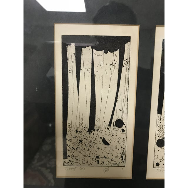 1960s Vintage Mid-Century Modern Abstract Trio Block Print Signed Voigt For Sale - Image 4 of 12