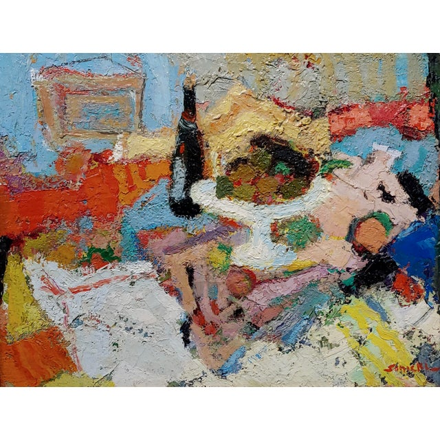 French George Rene Sinicki -A Bottle of Wine on a Busy Table -1950s Oil Painting For Sale - Image 3 of 8