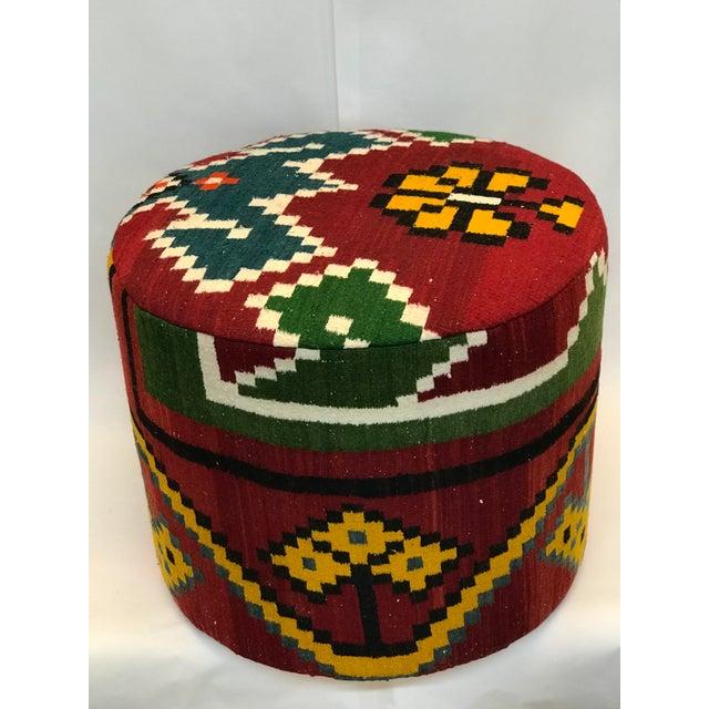 Vintage Handmade Kilim Ottoman For Sale - Image 4 of 4
