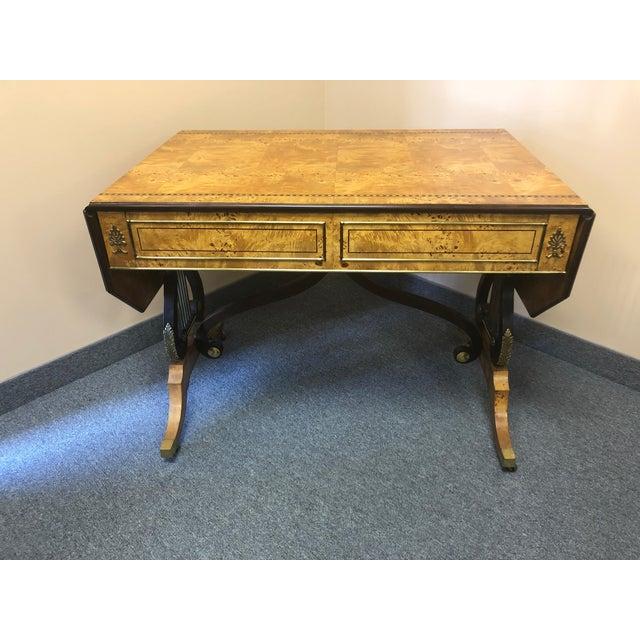 Baker Furniture Company 1980s Vintage Birdseye Maple Lyre Motife Writing Desk For Sale - Image 4 of 13