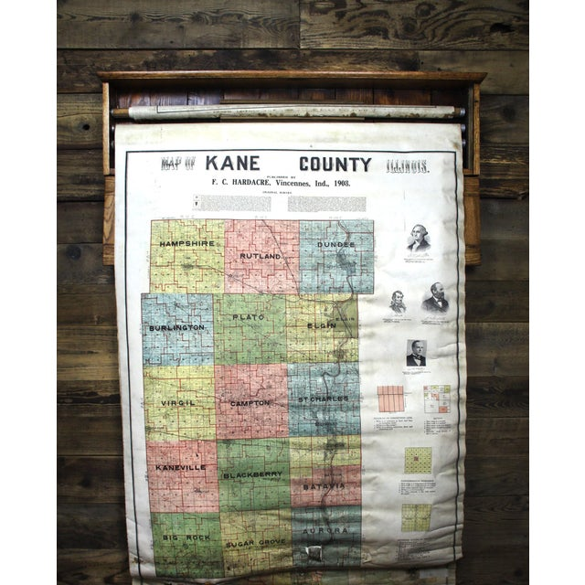 Turn of the Century F. C. Hardacre Map Cabinet With Early 1900s Illinois Maps For Sale - Image 10 of 12