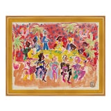 Image of At a Dinner Party by Happy Menocal in Gold Frame, XS Art Print For Sale