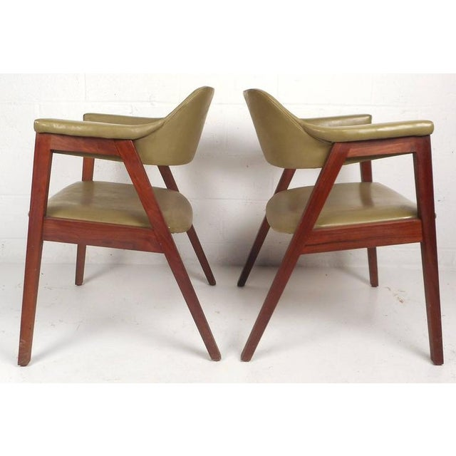 Mid-Century Modern Vinyl Barrel Back Chairs For Sale - Image 4 of 10