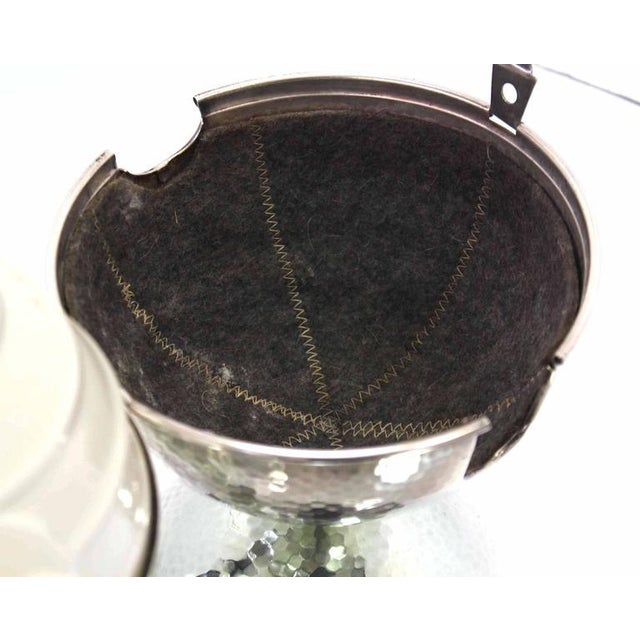 Early 20th Century WMF Porcelain Tea Pot in Hammered Metal Insulated Cover For Sale - Image 5 of 10