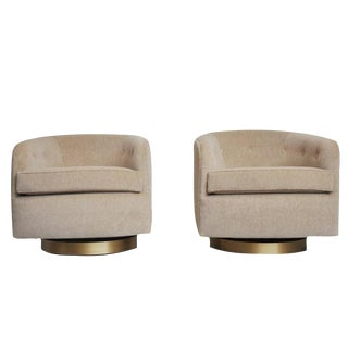Pair of Milo Baughman Swivel Chairs on Brushed Bronze Bases