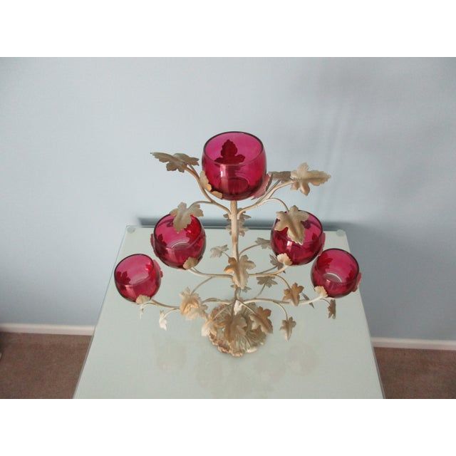 Mid-Century Modern Candelabra With Rose Colored Glass For Sale - Image 12 of 13