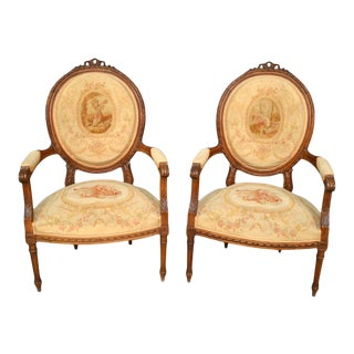 Antique Needlepoint French Carved Wood Arm Chairs - a Pair For Sale