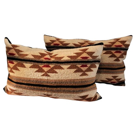 Pair of Navajo Indian Weaving Bolster Pillows For Sale