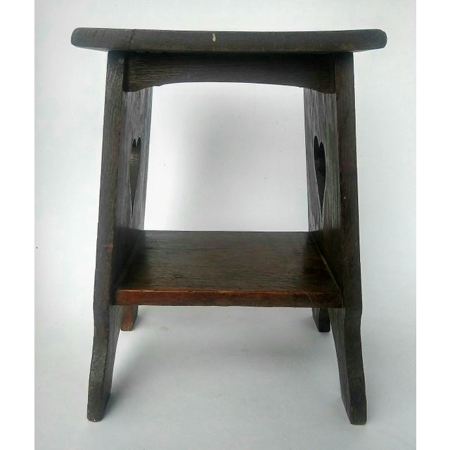 Arts & Crafts Mission Oak Side Table with Heart Cut Outs - Image 6 of 6