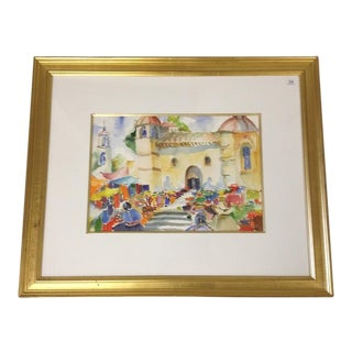 Spanish Market Watercolor Painting in Gold Frame For Sale