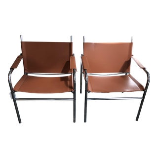 Vintage Leather & Chrome Chairs - A Pair