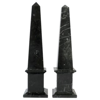Italian Modern Black and White Marble Obelisks For Sale