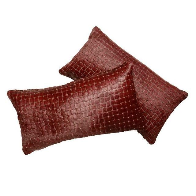 KLASP Home Burgundy Laser Cut Cowhide Lumbar Pillows For Sale - Image 4 of 5