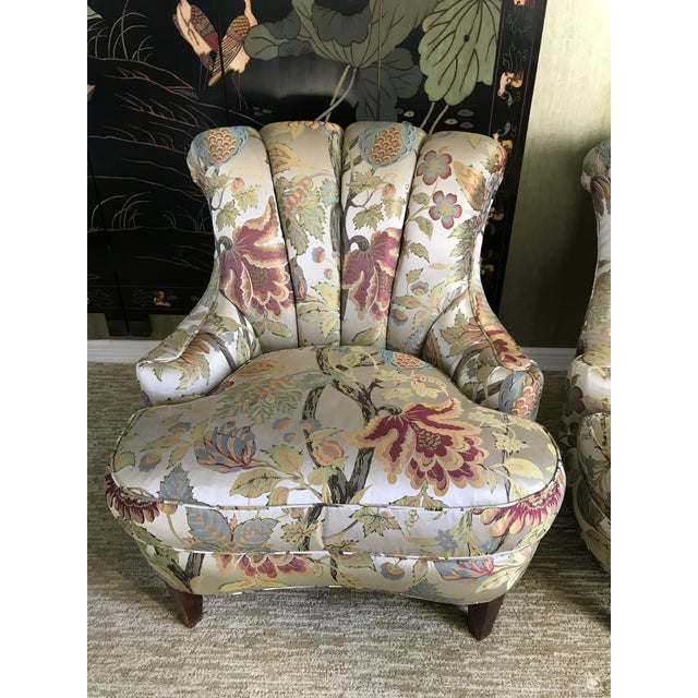 Art Deco 1940s Pullman Armless Floral Silk Upholstered Slipper Chairs - a Pair For Sale - Image 3 of 13