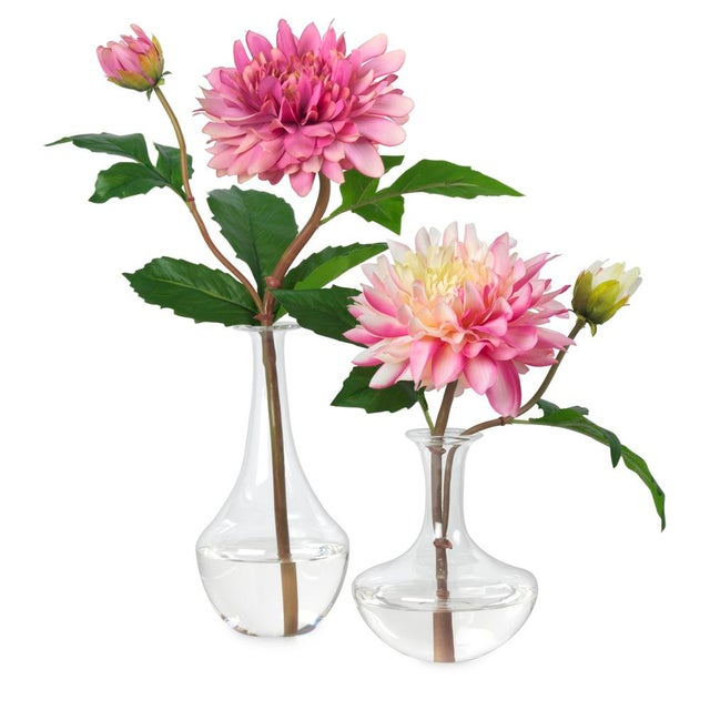 Art Nouveau Diane James for Chairish Faux Pink Dahlias in Bud Vases - a Pair For Sale - Image 3 of 3
