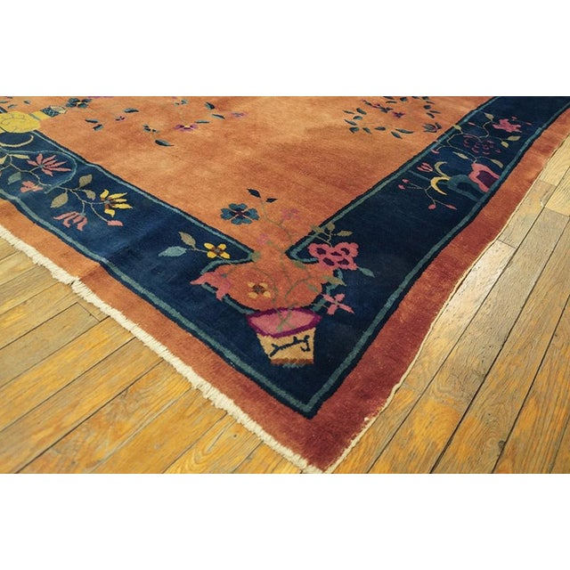 "1920s Chinese Art Deco Orange and Blue Rug - 5'x7'10"" For Sale - Image 5 of 6"