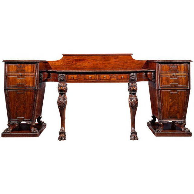 Brown Regency Mahogany Pedestal Sideboard For Sale - Image 8 of 8
