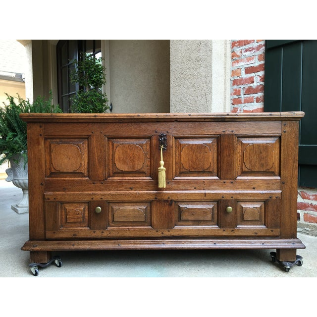 1900s Antique French Country Carved Oak Mule Chest Bench Coffer Trunk For Sale - Image 13 of 13